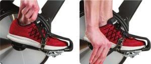 Threading spin bike pedal straps